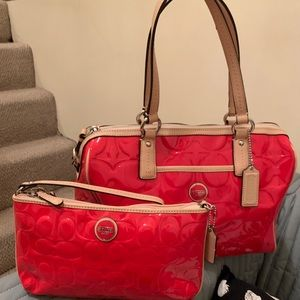 Coach Red/Tan Peyton embossed patent leather bags